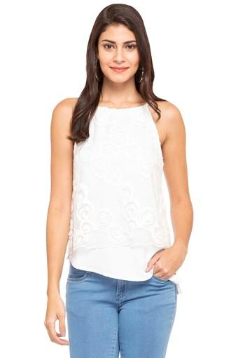 Womens Strappy Neck Lace Top