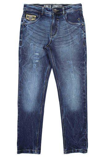 Boys 6 Pocket Whiskered Effect Jeans