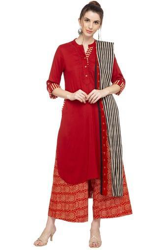 816d6ed2d58 Buy BIBA Womens Mandarin Neck Solid Palazzo Suit