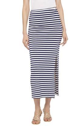 LIFEWomens Striped Calf Length Skirt