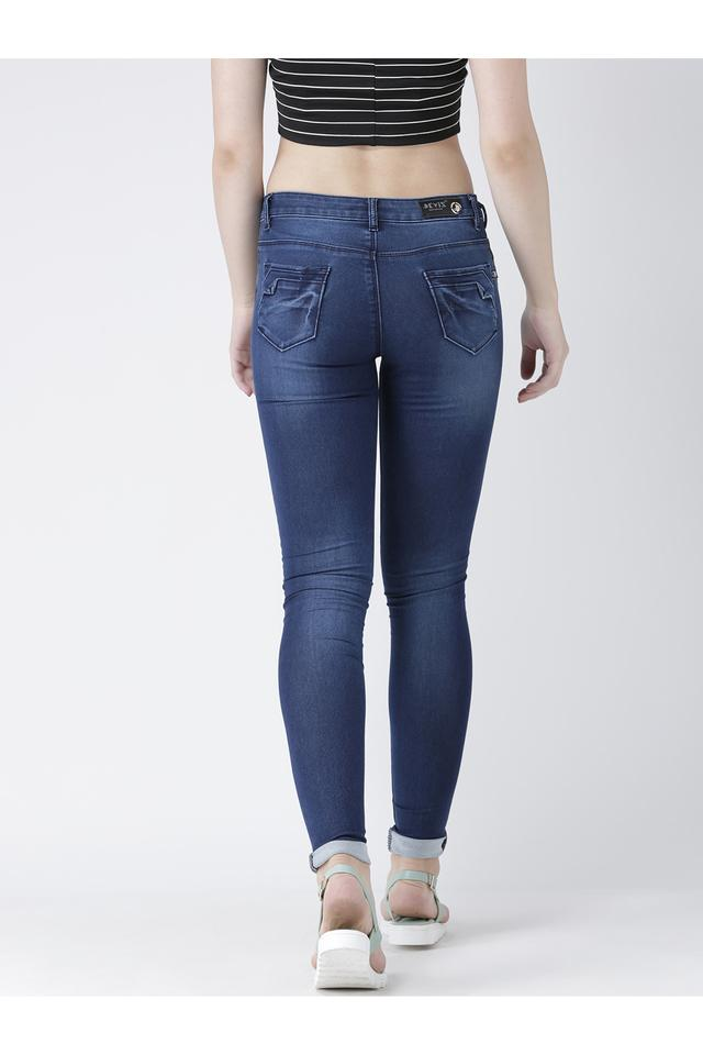 Womens Skinny Fit Heavy Wash Jeans