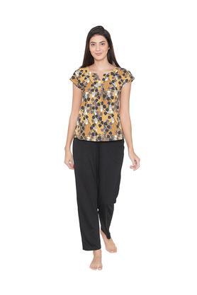 Womens Printed Top and Solid Pyjamas Set