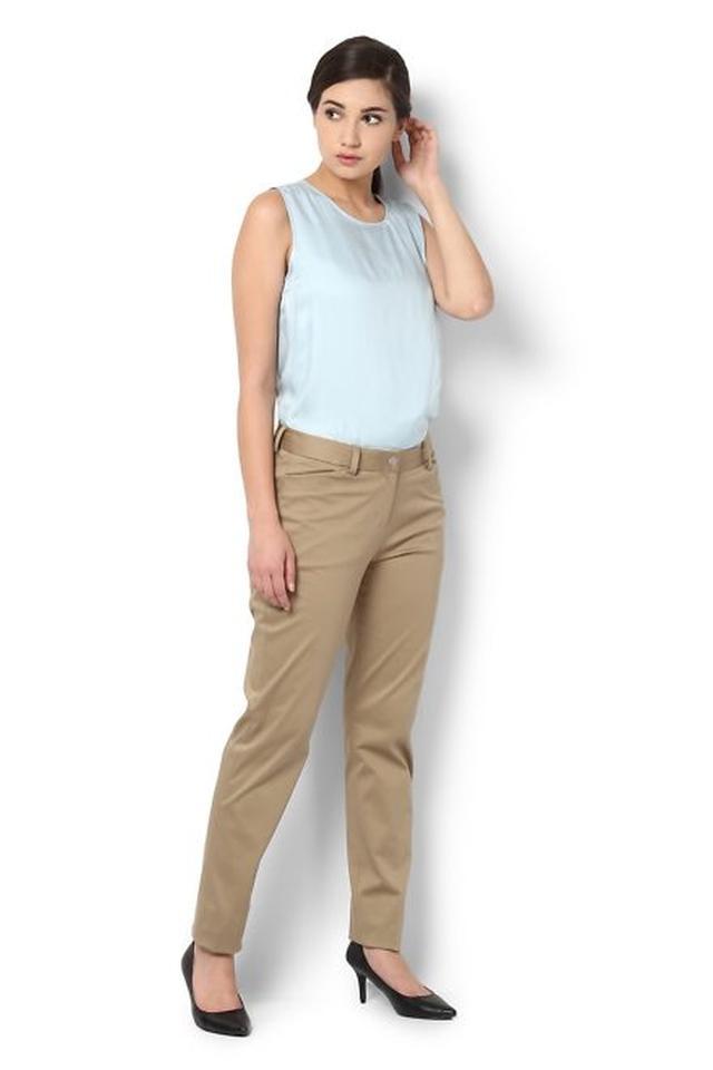 Womens 3 Pocket Solid Formal Pants