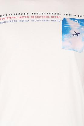 Mens Henley Neck Graphic Print T-Shirt