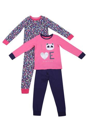Girls Round Neck Printed Pant and Tee Set Pack of 2
