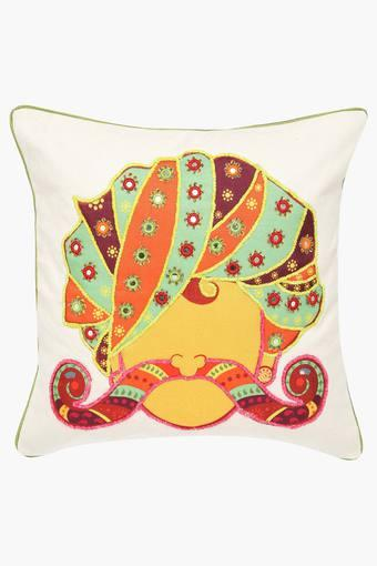 Square Turban Mix Embroidered Cushion Cover