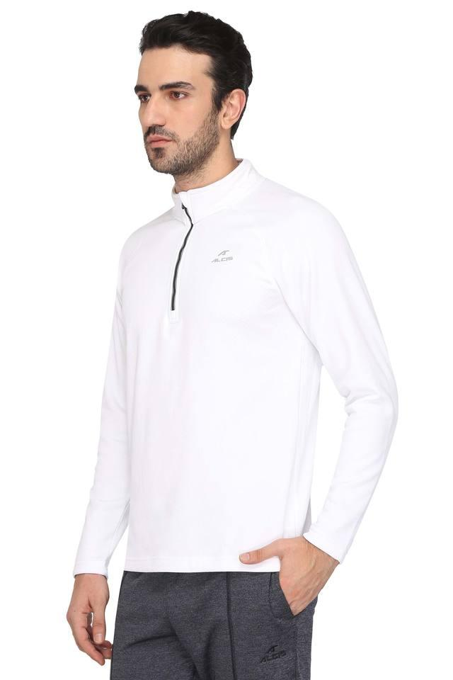Mens Zip Through Neck Solid T-Shirt