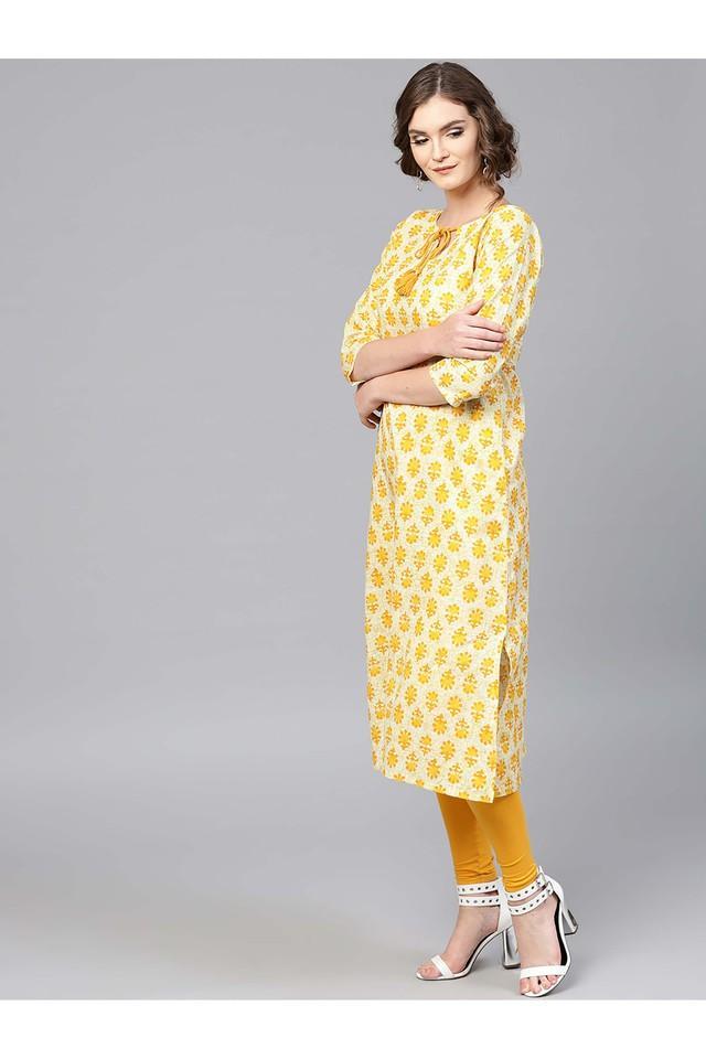 Women Cotton Printed Aline Kurta With Both Side Pockets
