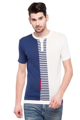 Mens Henley Neck Colour Block Sweater