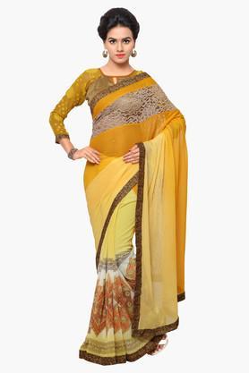 DEMARCAWomens Chiffon Embellished Saree
