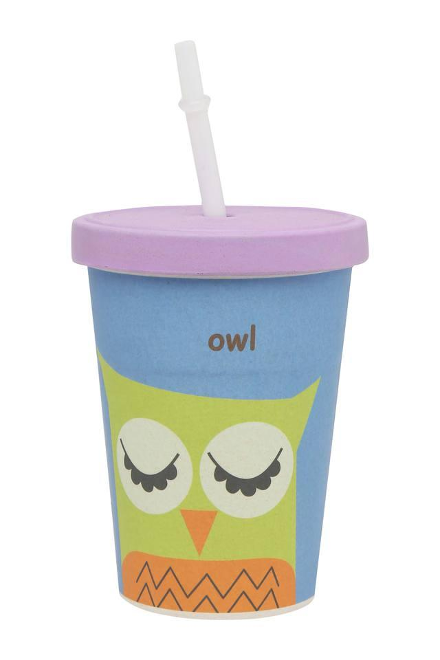 Kids Round Owl Printed Cup with Straw