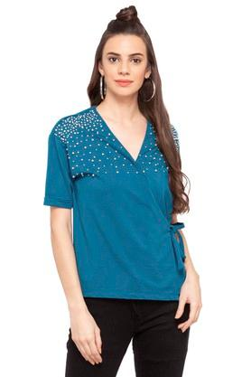 Womens Surplice Neck Embellished Top