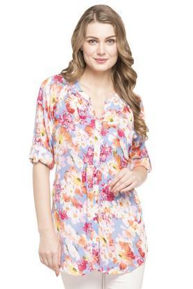 Womens Mandarin Neck Floral Print Tunic