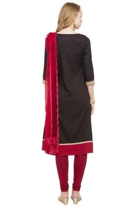 Womens Notched Neck Embellished Churidar Suit