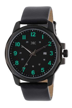 Mens Black Dial Leather Analogue Watch - KLM122E