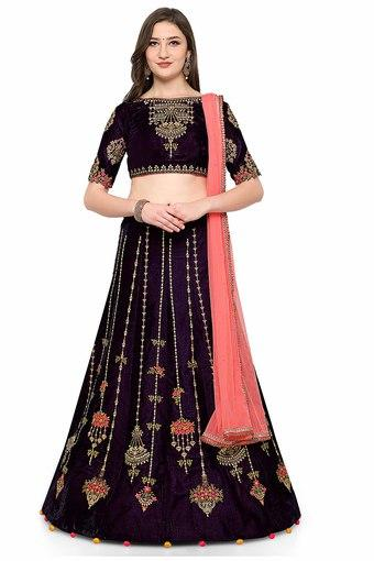 7ba02c29f0 Buy VRITIKA Womens Two Tone Velvet Designer Lehenga Choli | Shoppers Stop
