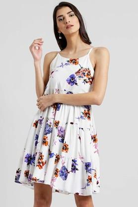 Womens Floral Print Flared Dress