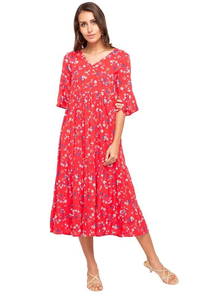 Womens Surplice Neck Printed Midi Dress
