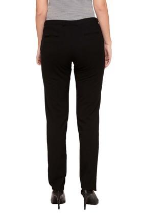 Womens 4 Pocket Solid Formal Pants