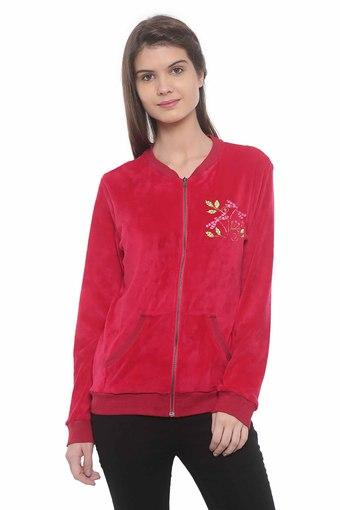 Womens Zip Through Neck Embroidered Jacket