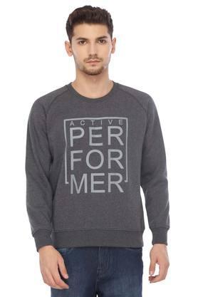 PARXMens Round Neck Graphic Print Sweatshirt