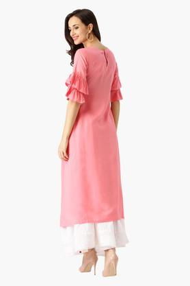 Womens Round Neck Solid A-Line Kurta