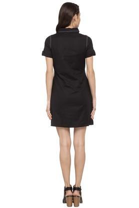 Womens 2 Pocket Solid Short Dress