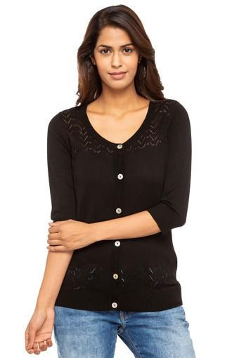 Womens Round Neck Solid Cardigan