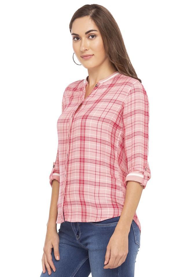 Womens Mandarin Collar Check Shirt