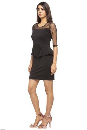 Womens Round Neck Solid Peplum Dress