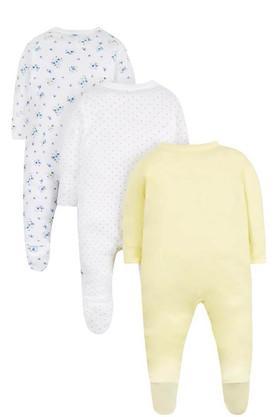 Kids V-Neck Printed Sleepsuit - Pack of 3