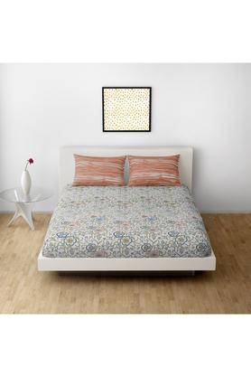 SPACESCotton Printed Double Bedsheet With 2 Pillow Covers - 203257375_9900