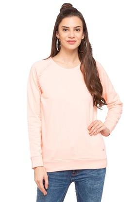 ALLEN SOLLY Womens Round Neck Slub Knitted Sweatshirt