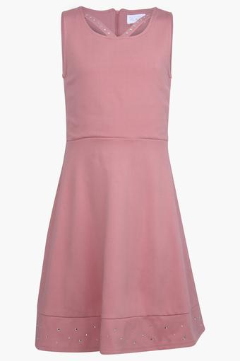 Girls Round Neck Solid Dress