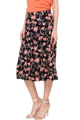 Womens Floral Printed Pleated Culottes