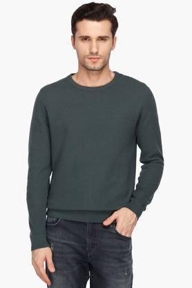 BLACKBERRYSMens Slim Fit Round Neck Self Pattern Sweatshirt
