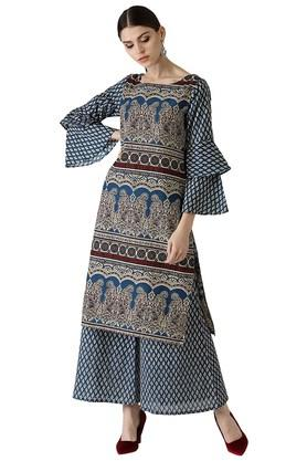 LIBAS Womens Cotton Printed Kurta With Palazzo