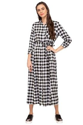 Womens Checked Casual Shirt Dress