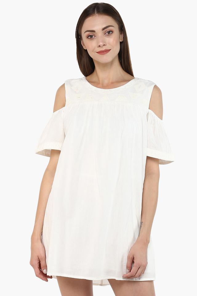 Womens Round Neck Solid Mini Dress