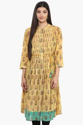 LABEL RITU KUMAR Womens Mandarin Collar Printed Kurta