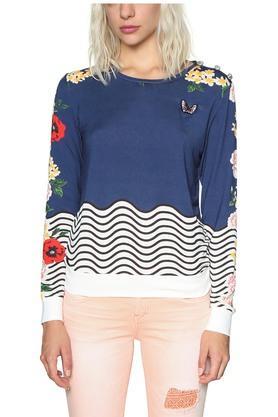 DESIGUALWomens Round Neck Printed Sweatshirt
