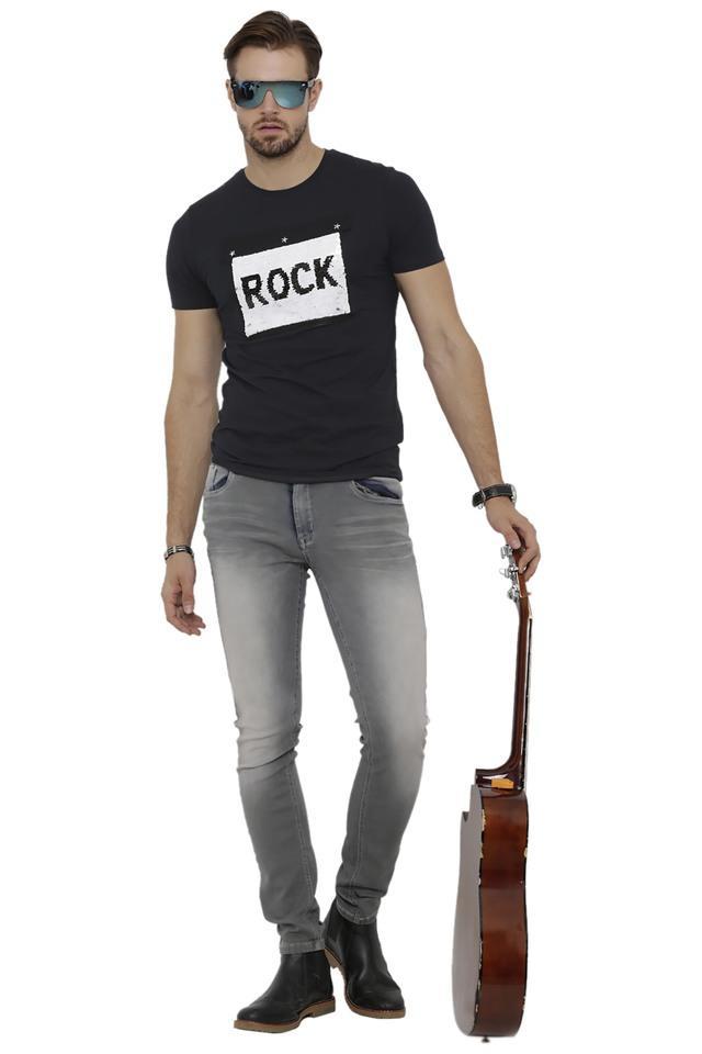 Mens Round Neck Sequin T-Shirt