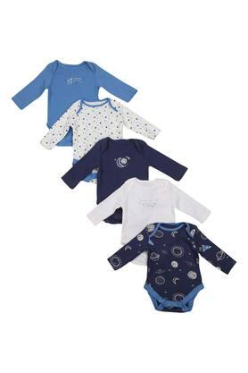 Boys Round Neck Printed Babysuit - Pack of 5