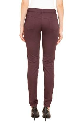 Womens 5 Pocket Solid Trousers
