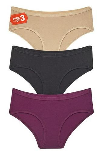 Womens Solid Hipster Briefs - Pack of 3