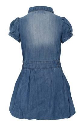 Girls Patch Work Flared Dress