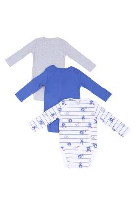 Boys Envelope Neck Solid Slub and Printed Bodysuit - Pack of 3