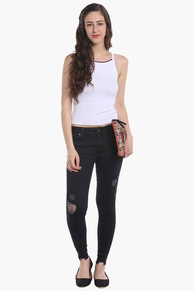 Womens 5 Pocket Rinse Wash Distressed Jeans
