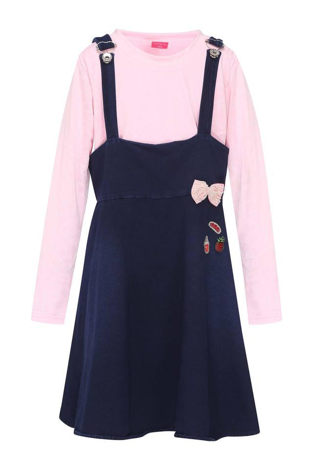 Girls Round Neck Solid Dungaree and Top Set