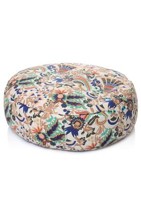 Canvas Floral Printed Round Floor Cushion XL Size with Fillers